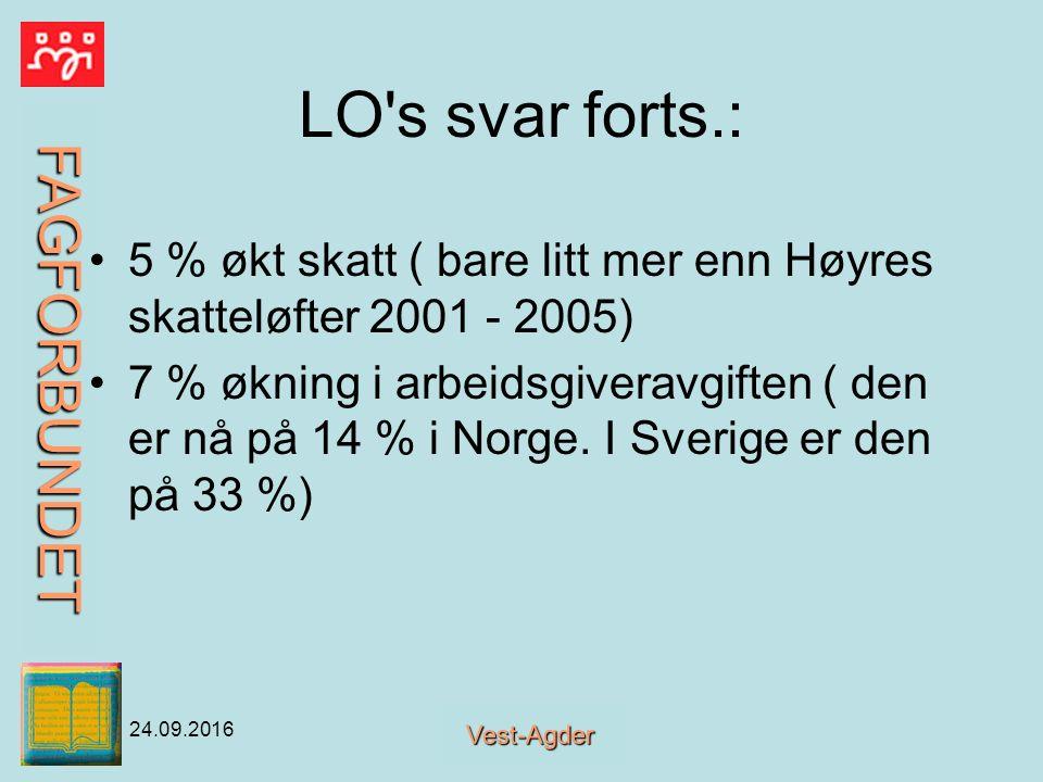 FAGFORBUNDET Vest-Agder 24.09.2016 LO s svar forts.: 5 % økt skatt ( bare litt mer enn Høyres skatteløfter 2001 - 2005) 7 % økning i arbeidsgiveravgiften ( den er nå på 14 % i Norge.
