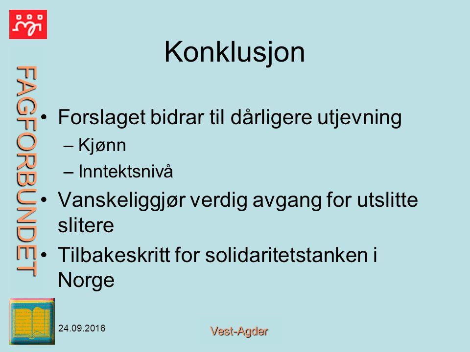 FAGFORBUNDET Vest-Agder 24.09.2016 Konklusjon Forslaget bidrar til dårligere utjevning –Kjønn –Inntektsnivå Vanskeliggjør verdig avgang for utslitte slitere Tilbakeskritt for solidaritetstanken i Norge