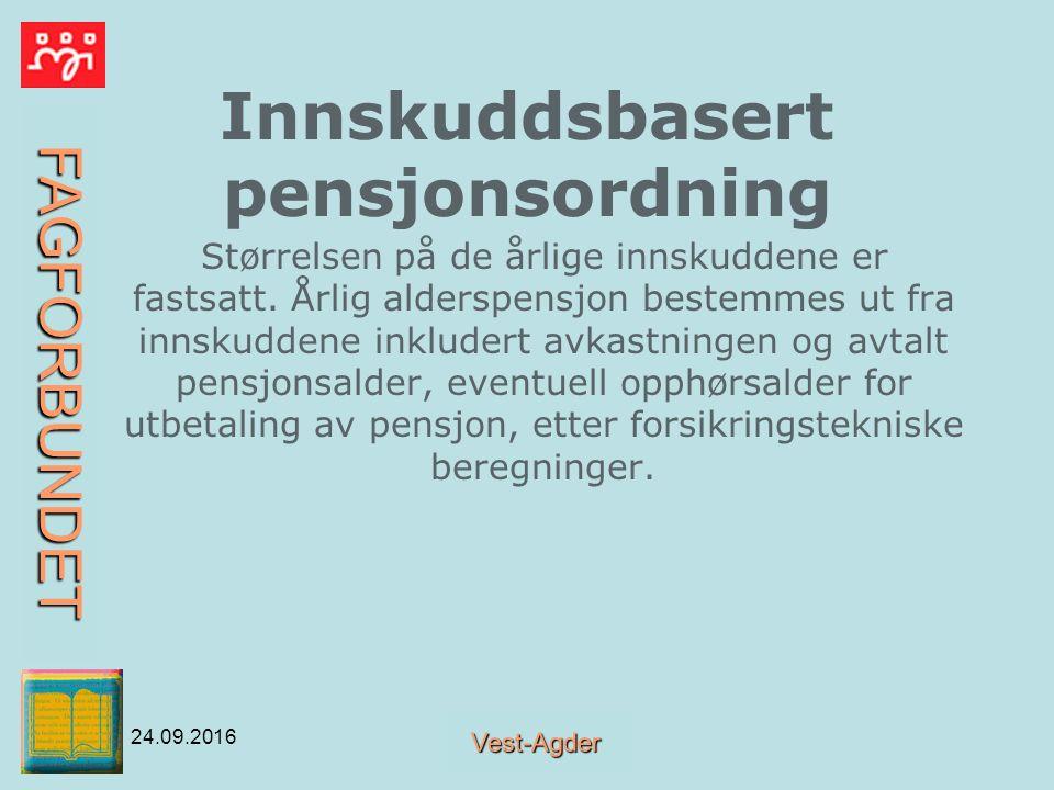 FAGFORBUNDET Vest-Agder 24.09.2016 Innskuddsbasert pensjonsordning Størrelsen på de årlige innskuddene er fastsatt.