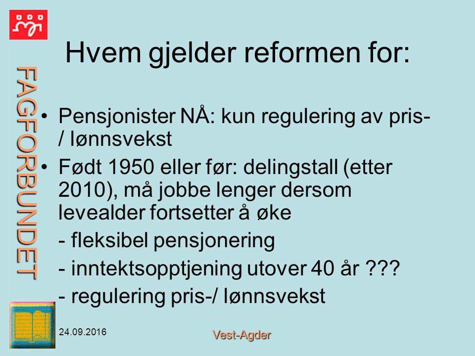 FAGFORBUNDET Vest-Agder 24.09.2016 POLITIKK VISER VIKTIGHET