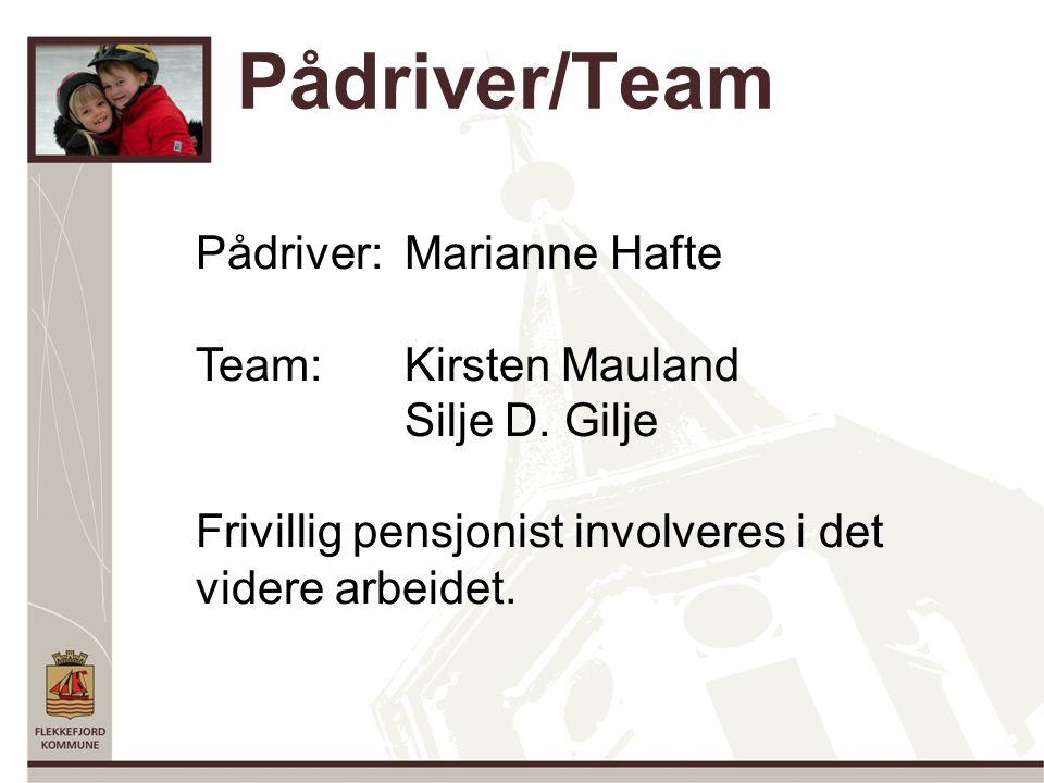 Pådriver/Team Pådriver: Marianne Hafte Team: Kirsten Mauland Silje D.