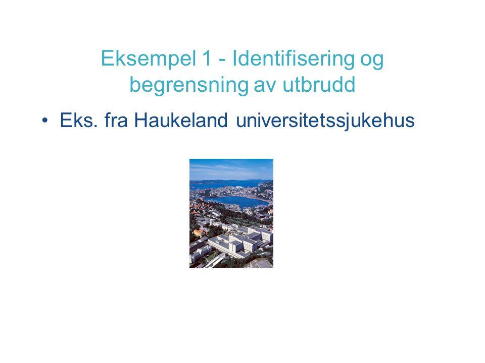 Eksempel 1 - Identifisering og begrensning av utbrudd Eks. fra Haukeland universitetssjukehus