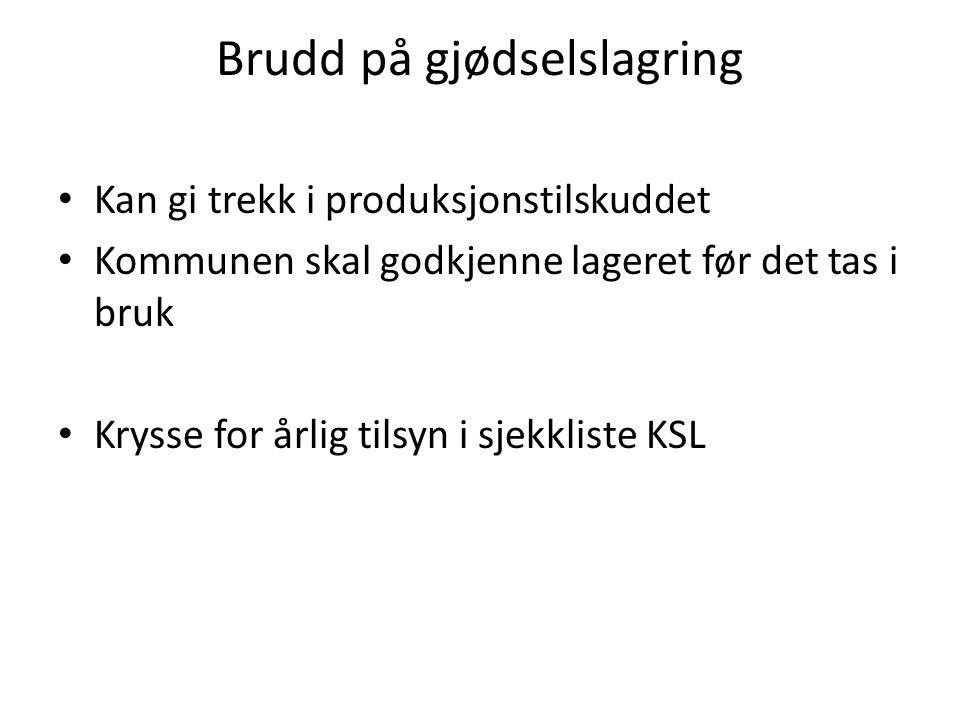 Brudd på gjødselslagring Kan gi trekk i produksjonstilskuddet Kommunen skal godkjenne lageret før det tas i bruk Krysse for årlig tilsyn i sjekkliste KSL