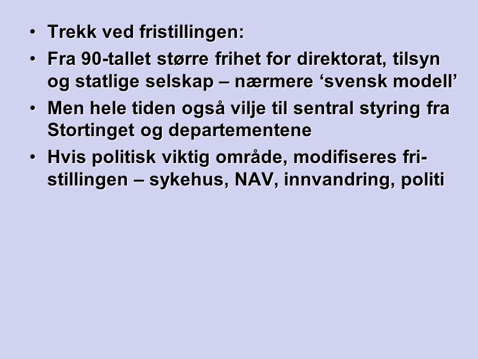 Trekk ved fristillingen:Trekk ved fristillingen: Fra 90-tallet større frihet for direktorat, tilsyn og statlige selskap – nærmere 'svensk modell'Fra 9