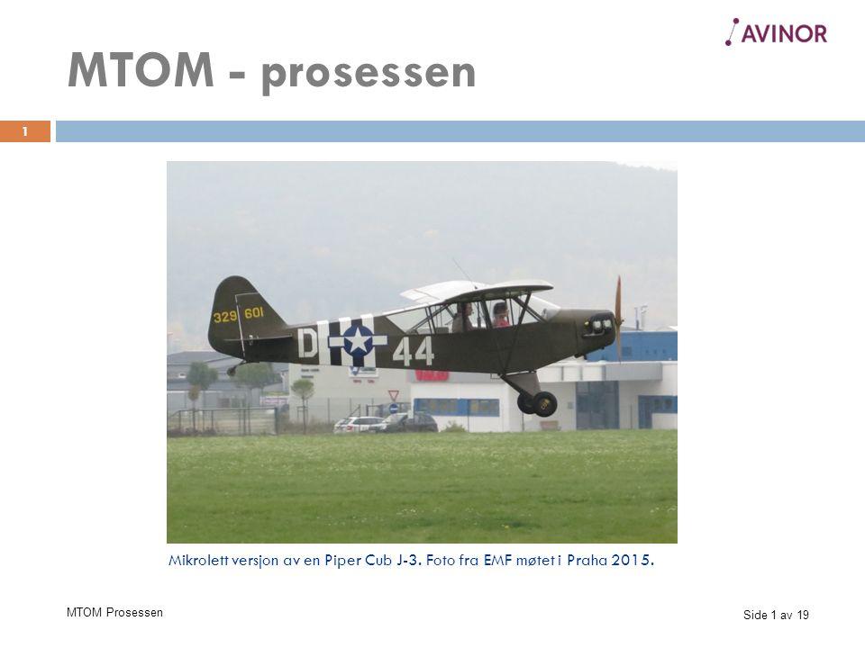 Side 1 av 19 MTOM Prosessen 1 MTOM - prosessen Mikrolett versjon av en Piper Cub J-3.