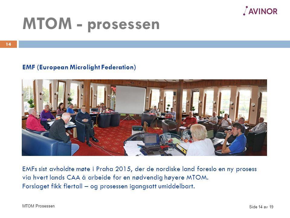 Side 14 av 19 MTOM Prosessen 14 EMF (European Microlight Federation) MTOM - prosessen EMFs sist avholdte møte i Praha 2015, der de nordiske land foreslo en ny prosess via hvert lands CAA å arbeide for en nødvendig høyere MTOM.