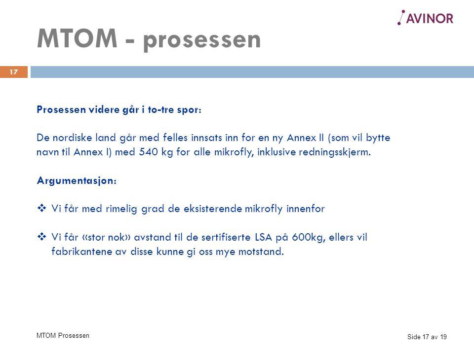 Side 17 av 19 MTOM Prosessen 17 Prosessen videre går i to-tre spor: De nordiske land går med felles innsats inn for en ny Annex II (som vil bytte navn til Annex I) med 540 kg for alle mikrofly, inklusive redningsskjerm.