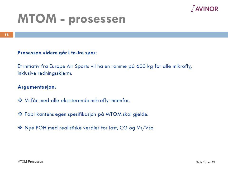 Side 18 av 19 MTOM Prosessen 18 Prosessen videre går i to-tre spor: Et initiativ fra Europe Air Sports vil ha en ramme på 600 kg for alle mikrofly, inklusive redningsskjerm.
