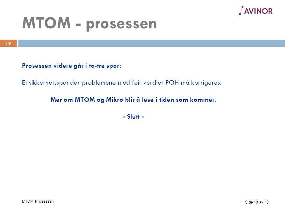 Side 19 av 19 MTOM Prosessen 19 Prosessen videre går i to-tre spor: Et sikkerhetsspor der problemene med feil verdier POH må korrigeres.