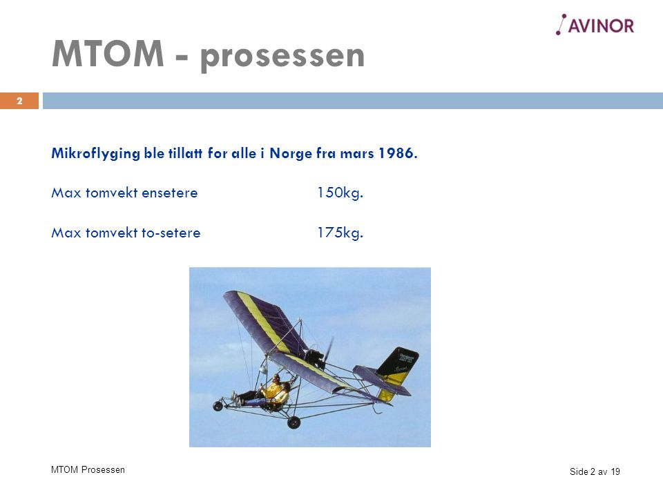 Side 13 av 19 MTOM Prosessen 13 EMF (European Microlight Federation) 1.