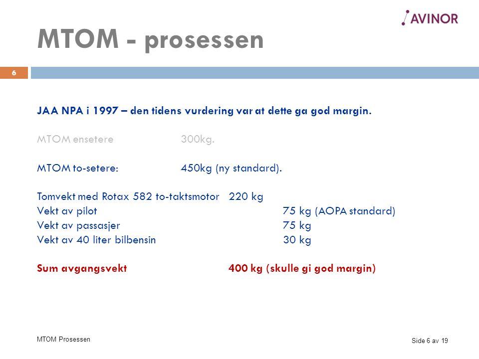Side 7 av 19 MTOM Prosessen 7 Tiden hadde gått årene før – og realitetene i 1997 var egentlig slik: Den tyngre og sterkere, men langt mer pålitelige Rotax 912 ble vanlig, og tomvekt med Rotax 912 fire-taktsmotor:270 kg MTOM - prosessen