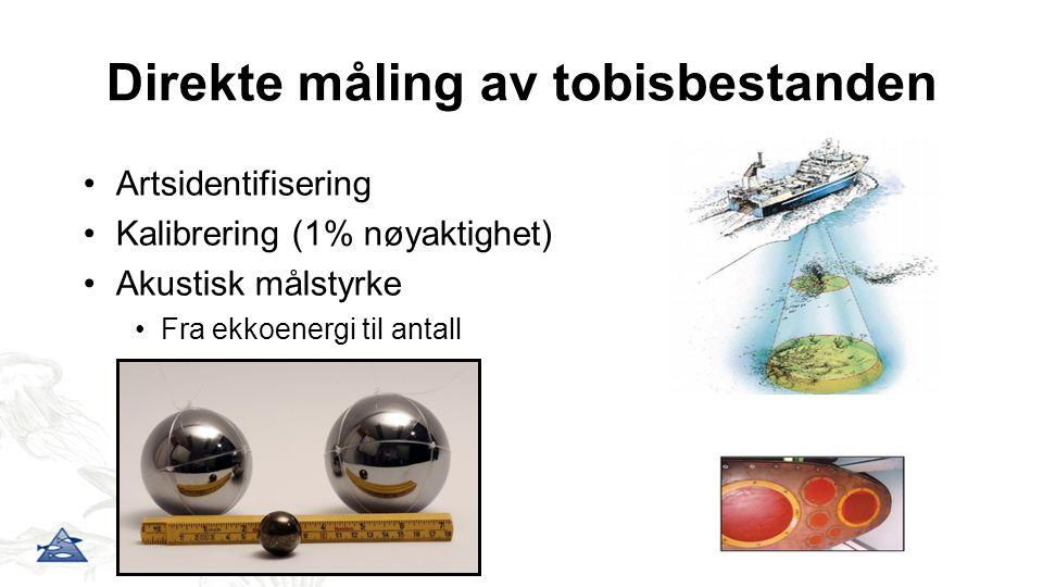 Direkte måling av tobisbestanden Artsidentifisering Kalibrering (1% nøyaktighet) Akustisk målstyrke Fra ekkoenergi til antall