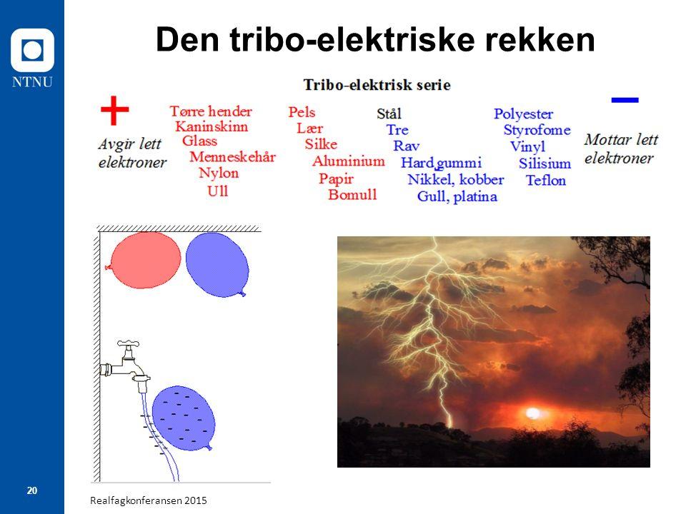 Realfagkonferansen 2015 20 Den tribo-elektriske rekken