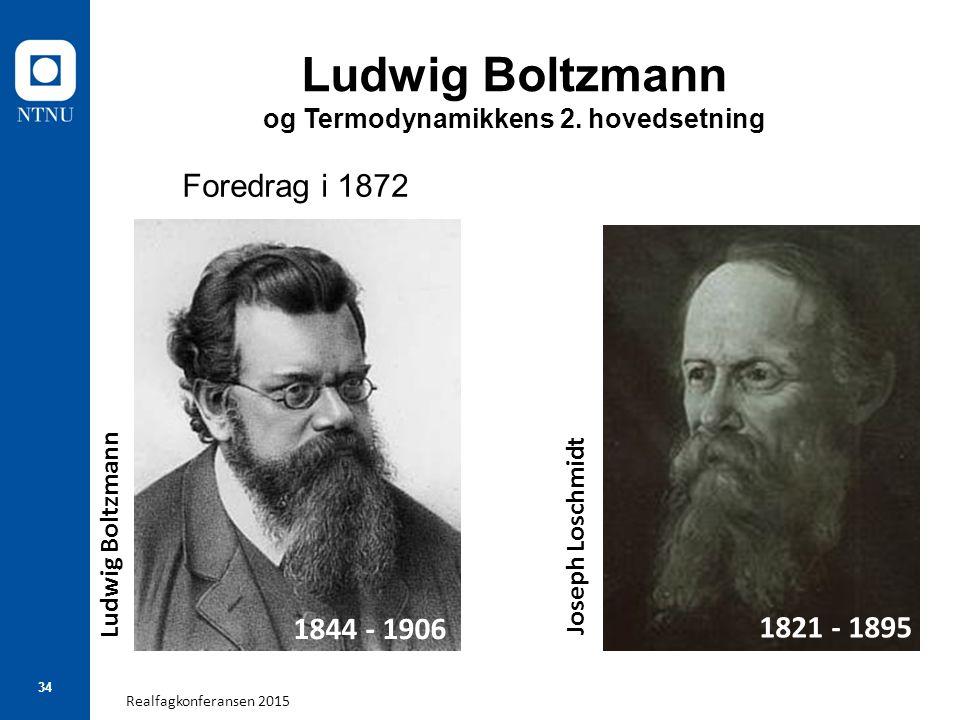 Realfagkonferansen 2015 34 Ludwig Boltzmann og Termodynamikkens 2. hovedsetning Foredrag i 1872 1844 - 1906 1821 - 1895 Ludwig Boltzmann Joseph Loschm