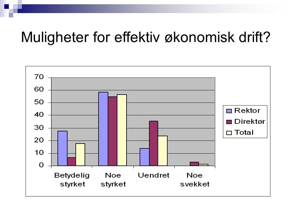 Muligheter for effektiv økonomisk drift?