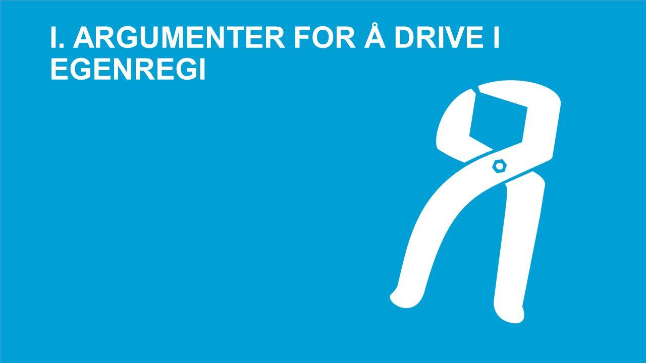 I. ARGUMENTER FOR Å DRIVE I EGENREGI