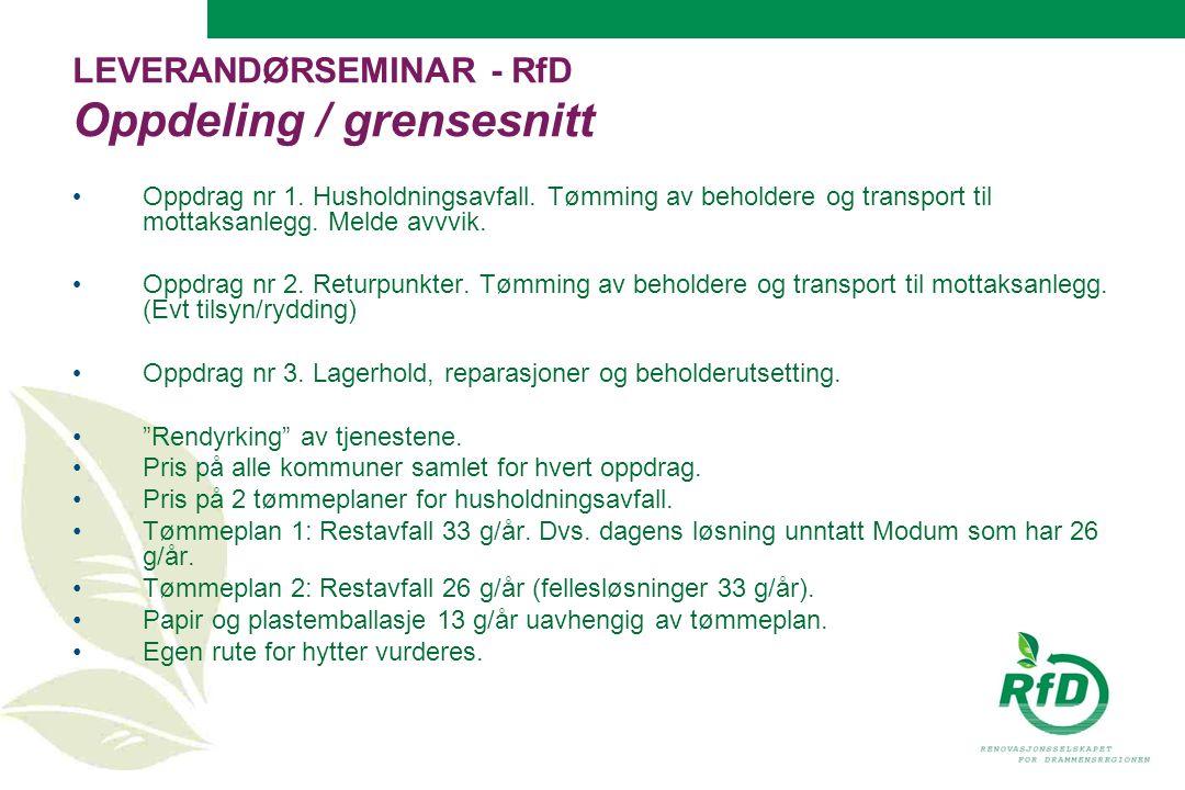 LEVERANDØRSEMINAR - RfD Oppdeling / grensesnitt Oppdrag nr 1.