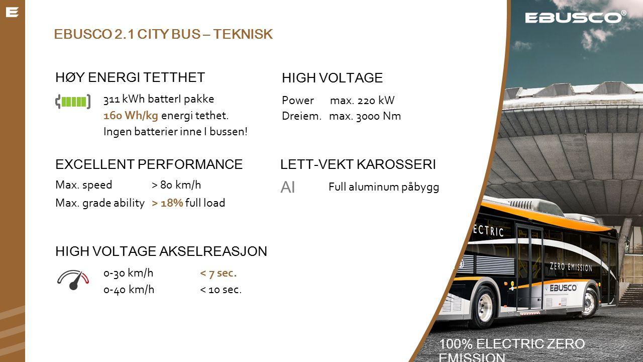 EBUSCO 2.1 CITY BUS – TEKNISK HØY ENERGI TETTHET 311 kWh batterI pakke 160 Wh/kg energi tethet.