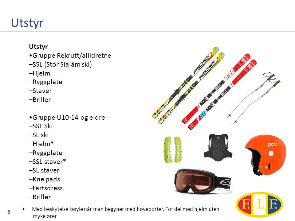 Utstyr 8 Gruppe Rekrutt/allidretne –SSL (Stor Slalåm ski) –Hjelm –Ryggplate –Staver –Briller Gruppe U10-14 og eldre –SSL Ski –SL ski –Hjelm* –Ryggplate –SSL staver* –SL staver –Kne pads –Fartsdress –Briller Med beskytelse bøyle når man begyner med høyeporter.