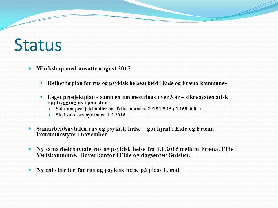 Status Workshop med ansatte august 2015 Helhetlig plan for rus og psykisk helsearbeid i Eide og Fræna kommune» Laget prosjektplan « sammen om mestring