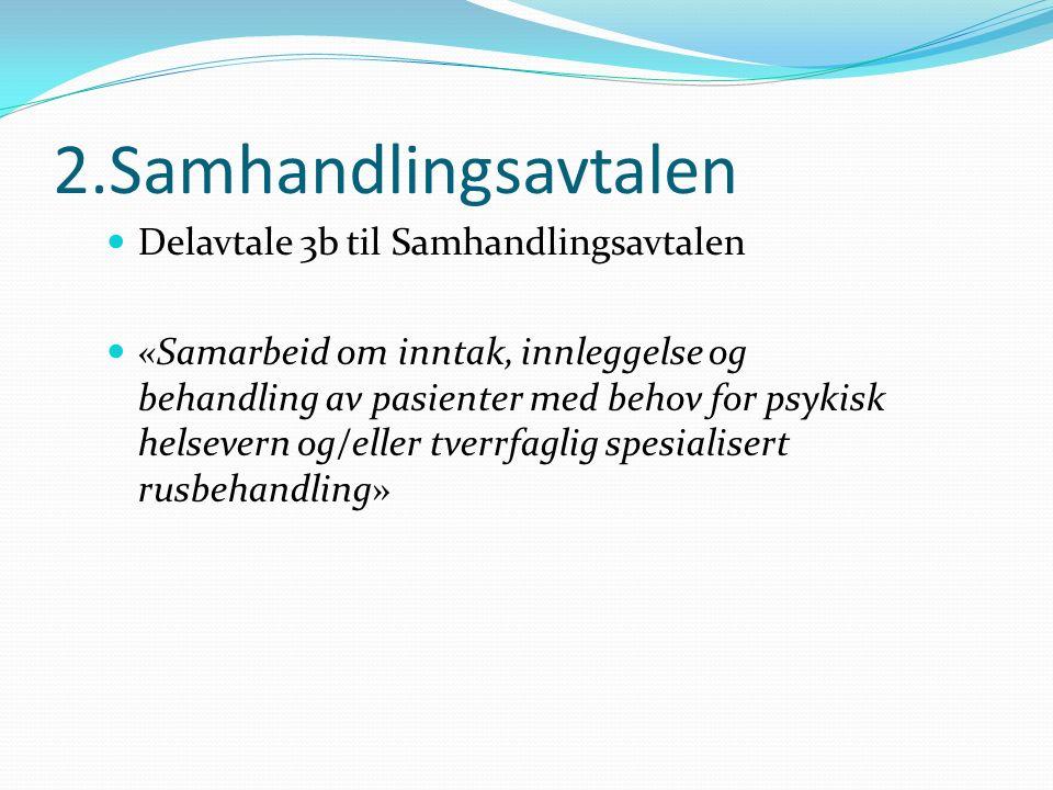2.Samhandlingsavtalen Delavtale 3b til Samhandlingsavtalen «Samarbeid om inntak, innleggelse og behandling av pasienter med behov for psykisk helsevern og/eller tverrfaglig spesialisert rusbehandling»