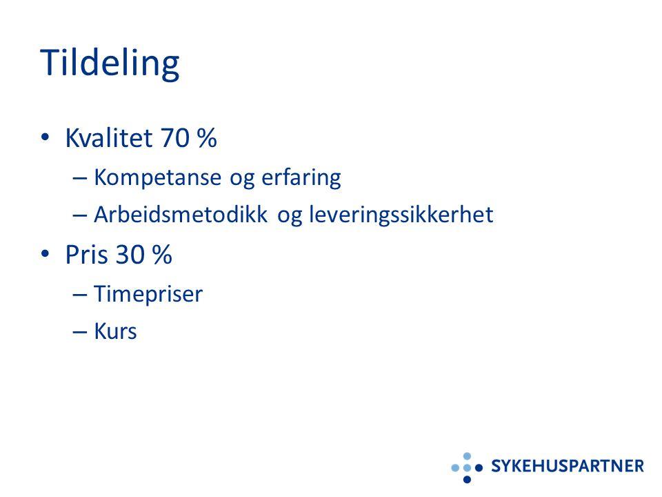 Tildeling Kvalitet 70 % – Kompetanse og erfaring – Arbeidsmetodikk og leveringssikkerhet Pris 30 % – Timepriser – Kurs