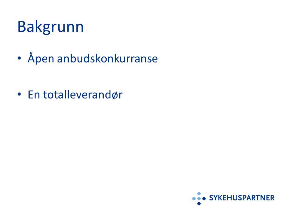 Bakgrunn Åpen anbudskonkurranse En totalleverandør