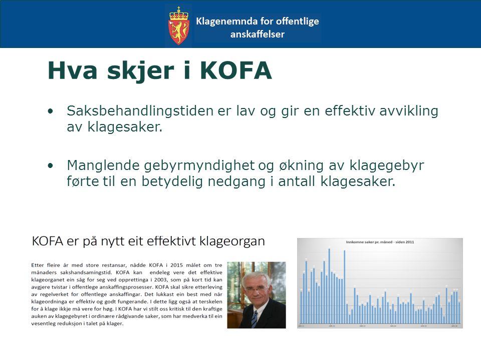 Hva skjer i KOFA Saksbehandlingstiden er lav og gir en effektiv avvikling av klagesaker.
