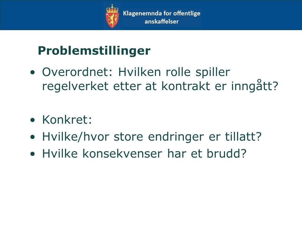 Problemstillinger Overordnet: Hvilken rolle spiller regelverket etter at kontrakt er inngått.