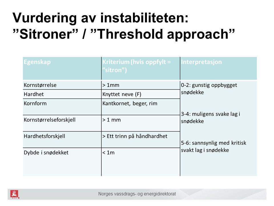 Norges vassdrags- og energidirektorat Vurdering av instabiliteten: Sitroner / Threshold approach .