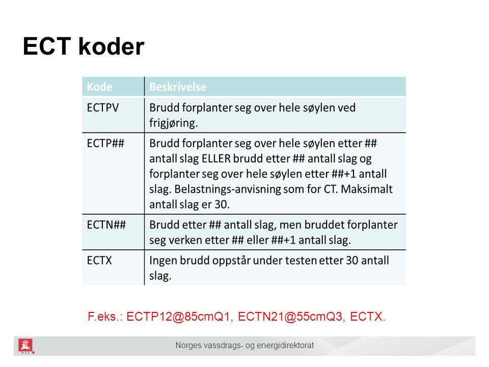 Norges vassdrags- og energidirektorat ECT koder F.eks.: ECTP12@85cmQ1, ECTN21@55cmQ3, ECTX.