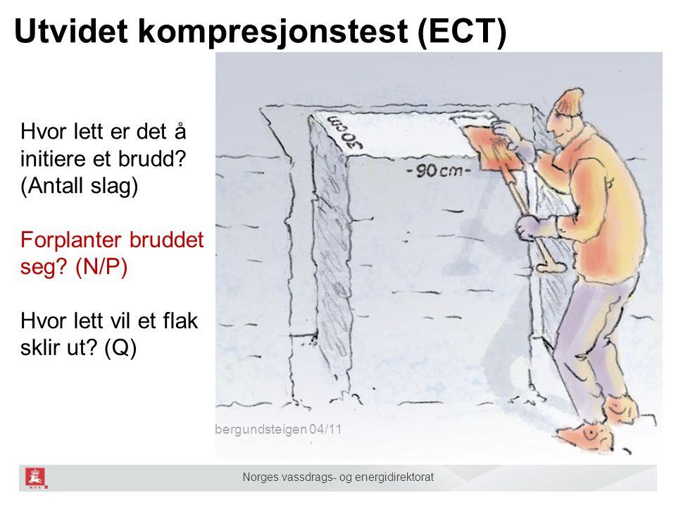 Norges vassdrags- og energidirektorat Utvidet kompresjonstest (ECT) bergundsteigen 04/11 Hvor lett er det å initiere et brudd.