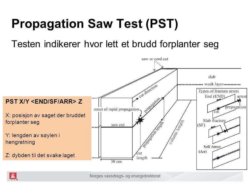 Norges vassdrags- og energidirektorat Propagation Saw Test (PST) Testen indikerer hvor lett et brudd forplanter seg PST X/Y Z X: posisjon av saget der bruddet forplanter seg Y: lengden av søylen i hengretning Z: dybden til det svake laget