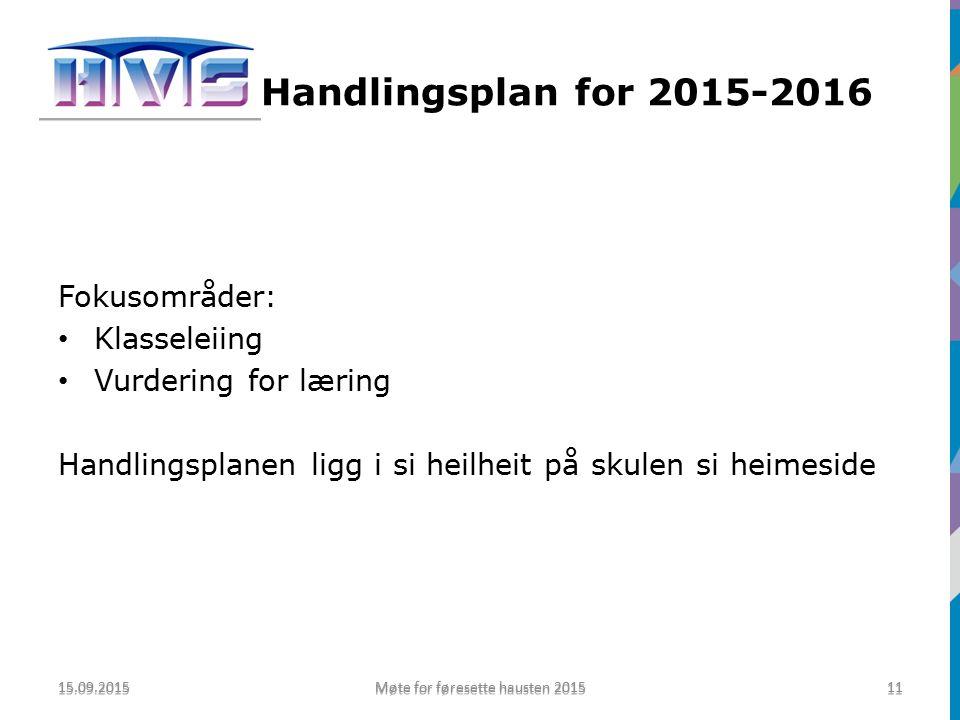 Handling Handlingsplan for 2015-2016 Fokusområder: Klasseleiing Vurdering for læring Handlingsplanen ligg i si heilheit på skulen si heimeside 15.09.2015 Møte for føresette hausten 2015 11