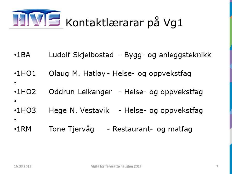 Kontaktlærarar på Vg1 1BALudolf Skjelbostad- Bygg- og anleggsteknikk 1HO1Olaug M.