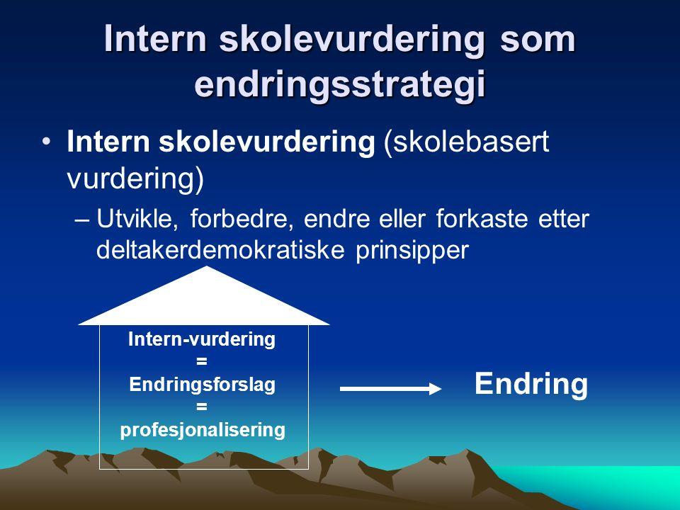 Intern skolevurdering (skolebasert vurdering) –Utvikle, forbedre, endre eller forkaste etter deltakerdemokratiske prinsipper Intern-vurdering = Endrin