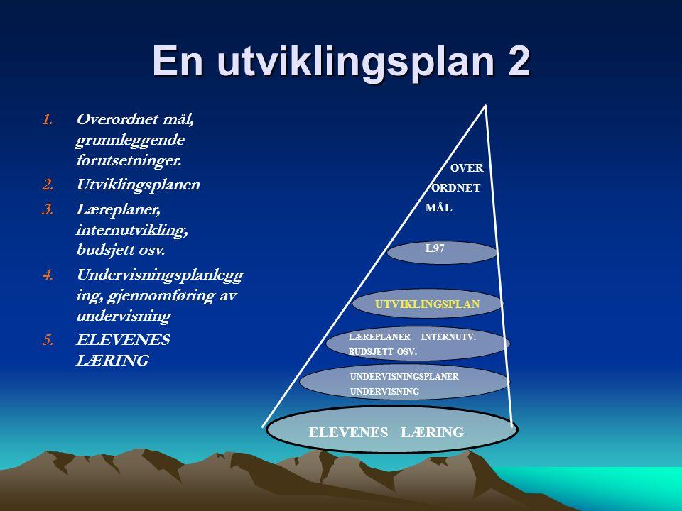 En utviklingsplan 2 OVER- ORDNET MÅL L97 UTVIKLINGSPLAN - LÆREPLANER INTERNUTV. BUDSJETT OSV. UNDERVISNINGSPLANER UNDERVISNING ELEVENES LÆRING 1.Overo