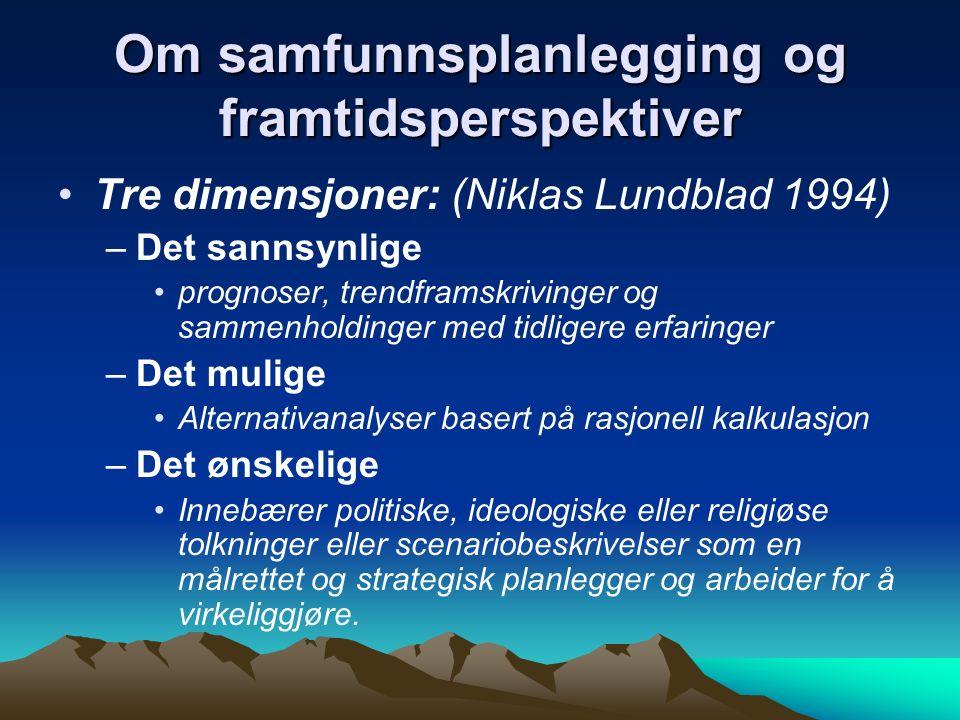 Om samfunnsplanlegging og framtidsperspektiver Tre dimensjoner: (Niklas Lundblad 1994) –Det sannsynlige prognoser, trendframskrivinger og sammenholdin