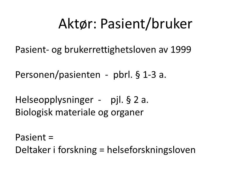 Aktør: Pasient/bruker Pasient- og brukerrettighetsloven av 1999 Personen/pasienten - pbrl. § 1-3 a. Helseopplysninger - pjl. § 2 a. Biologisk material