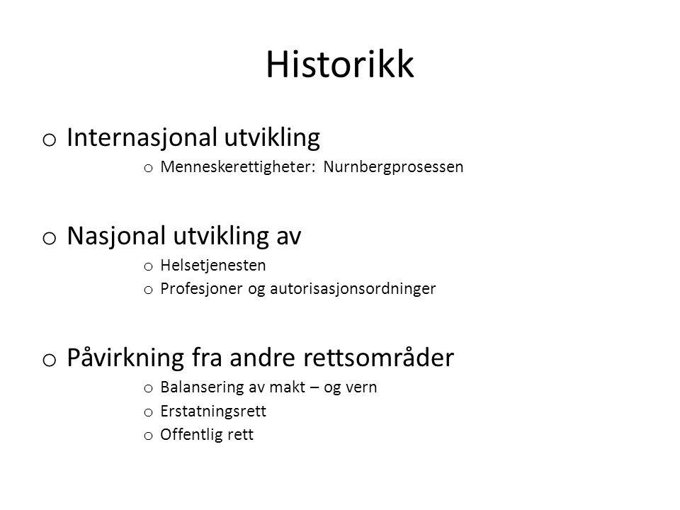 Historikk o Internasjonal utvikling o Menneskerettigheter: Nurnbergprosessen o Nasjonal utvikling av o Helsetjenesten o Profesjoner og autorisasjonsor