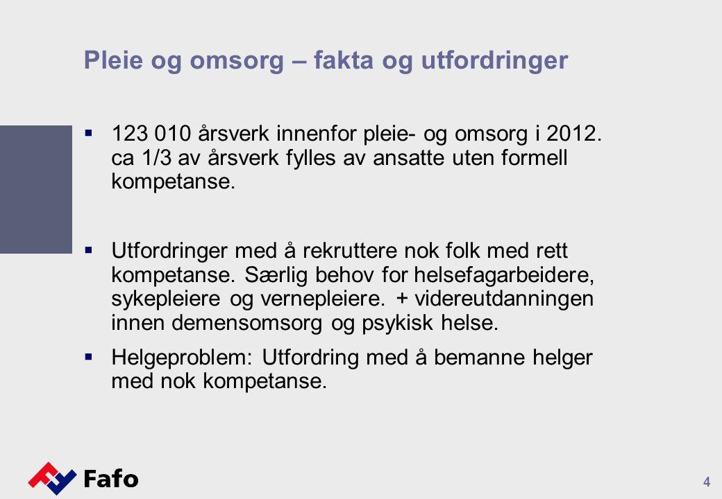 Pleie og omsorg – fakta og utfordringer  123 010 årsverk innenfor pleie- og omsorg i 2012.