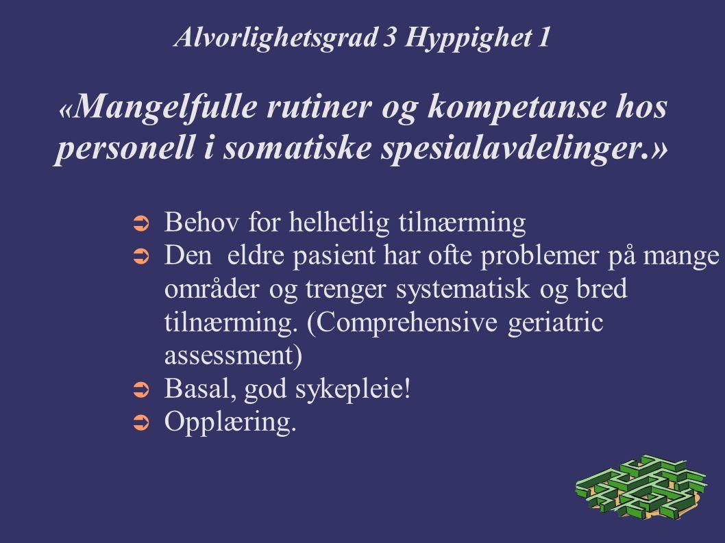 Alvorlighetsgrad 3 Hyppighet 1 « Mangelfulle rutiner og kompetanse hos personell i somatiske spesialavdelinger.»  Behov for helhetlig tilnærming  Den eldre pasient har ofte problemer på mange områder og trenger systematisk og bred tilnærming.