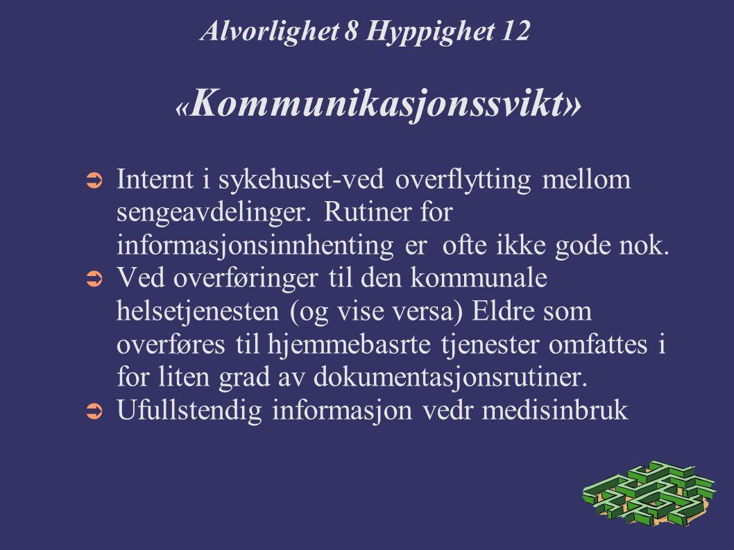 Alvorlighet 8 Hyppighet 12 « Kommunikasjonssvikt»  Internt i sykehuset-ved overflytting mellom sengeavdelinger.