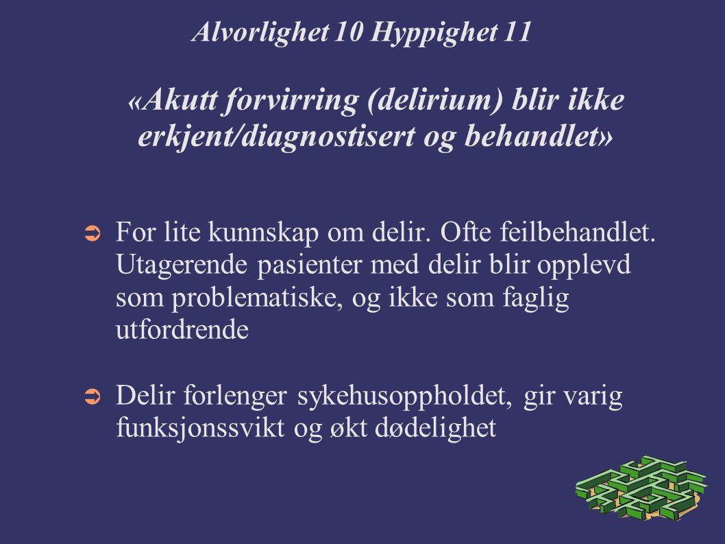 Alvorlighet 10 Hyppighet 11 « Akutt forvirring (delirium) blir ikke erkjent/diagnostisert og behandlet»  For lite kunnskap om delir.