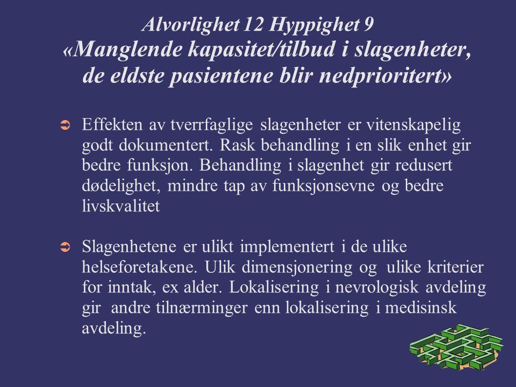 Alvorlighet 12 Hyppighet 9 « Manglende kapasitet/tilbud i slagenheter, de eldste pasientene blir nedprioritert»  Effekten av tverrfaglige slagenheter er vitenskapelig godt dokumentert.
