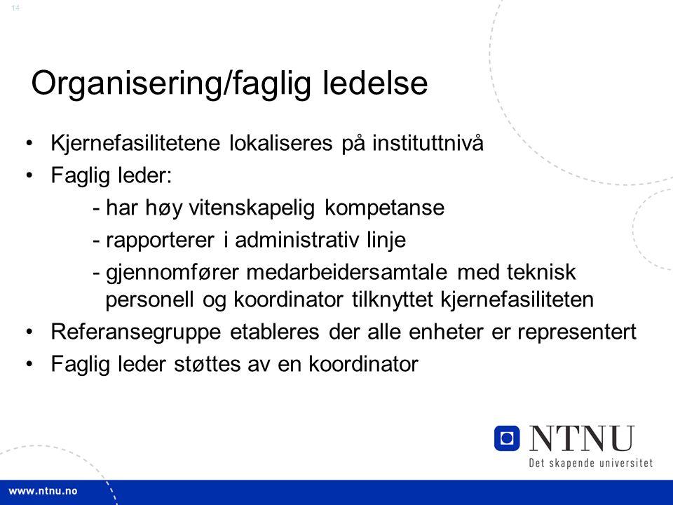 14 Organisering/faglig ledelse Kjernefasilitetene lokaliseres på instituttnivå Faglig leder: - har høy vitenskapelig kompetanse - rapporterer i admini