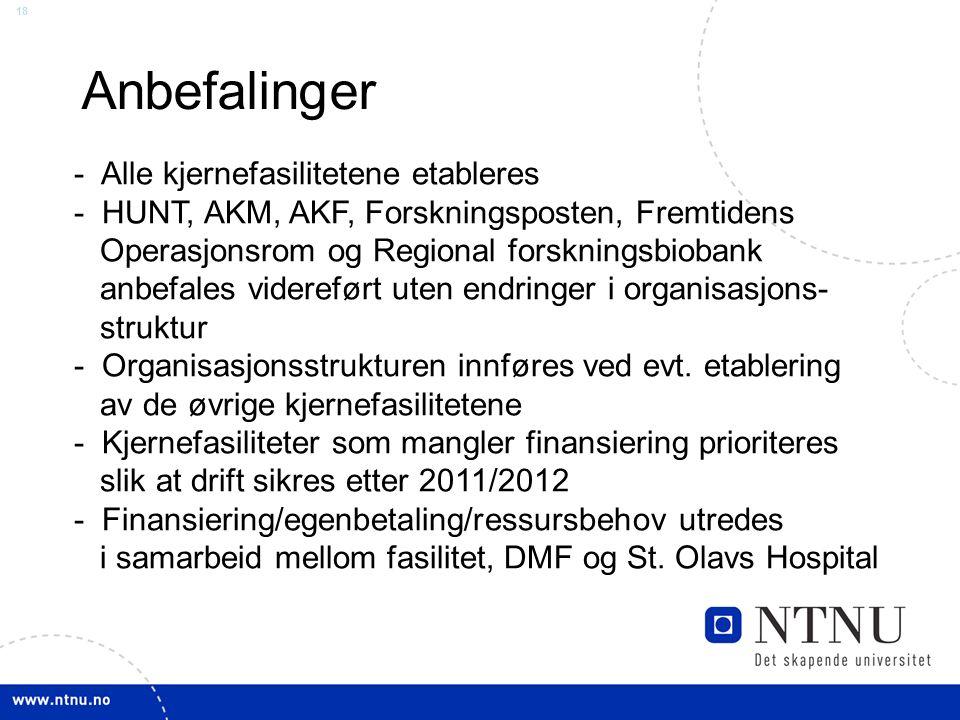 18 Anbefalinger - Alle kjernefasilitetene etableres - HUNT, AKM, AKF, Forskningsposten, Fremtidens Operasjonsrom og Regional forskningsbiobank anbefal