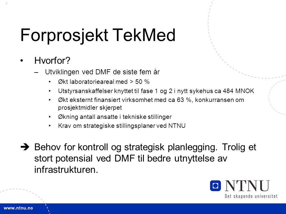 2 Forprosjekt TekMed Hvorfor? –Utviklingen ved DMF de siste fem år Økt laboratorieareal med > 50 % Utstyrsanskaffelser knyttet til fase 1 og 2 i nytt