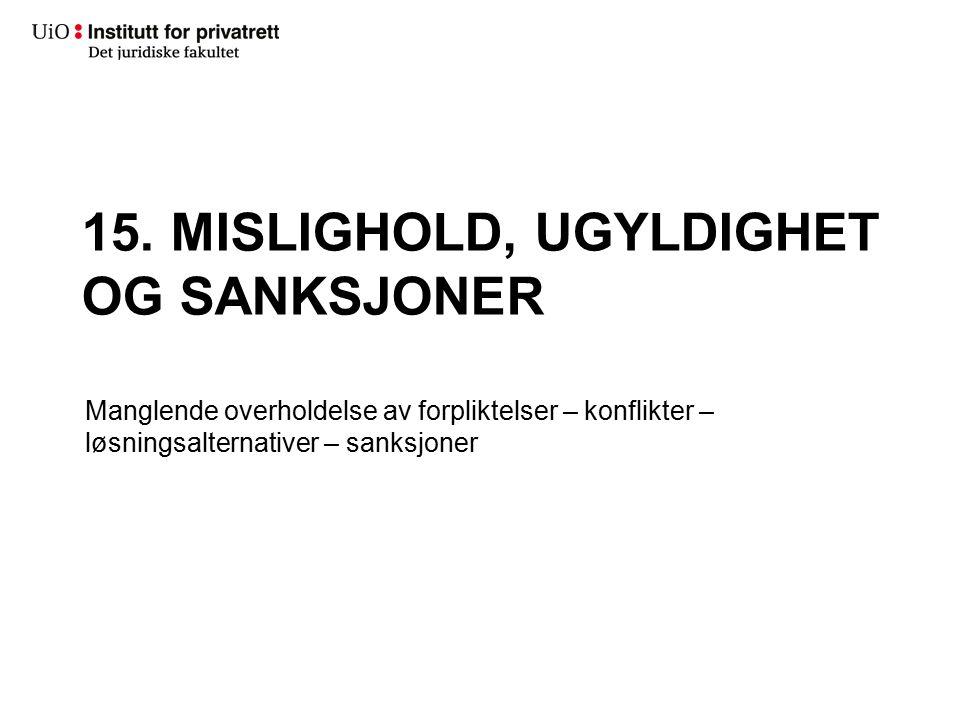 15. MISLIGHOLD, UGYLDIGHET OG SANKSJONER Manglende overholdelse av forpliktelser – konflikter – løsningsalternativer – sanksjoner
