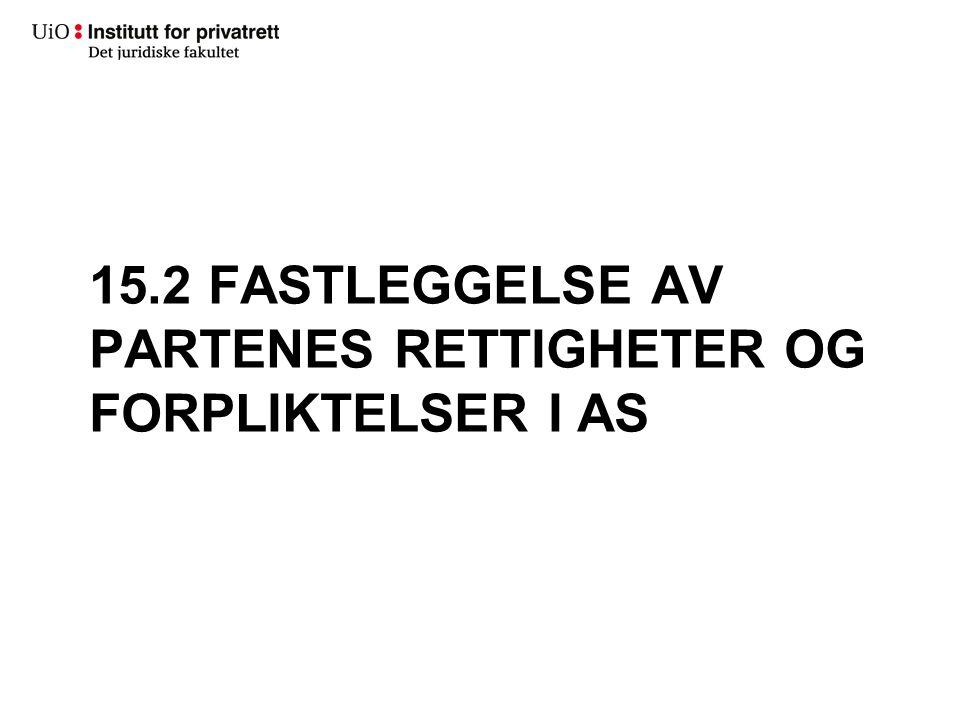 15.2 FASTLEGGELSE AV PARTENES RETTIGHETER OG FORPLIKTELSER I AS